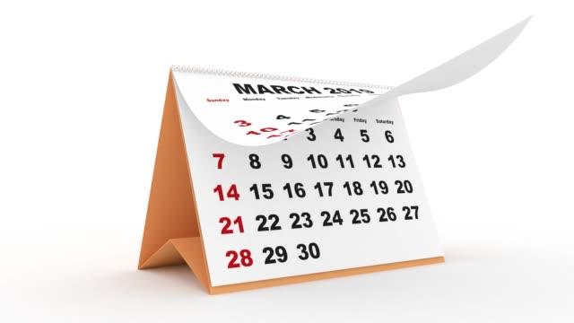 2019 책상 달력 영어 - calendar 스톡 비디오 및 b-롤 화면