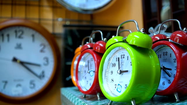 Desk Clocks in a Row Full HD, 50p, Real Time wall clock stock videos & royalty-free footage