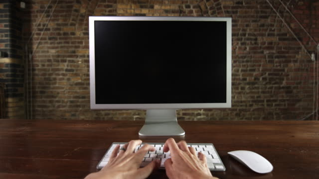 POV desktop computer screen and typing video
