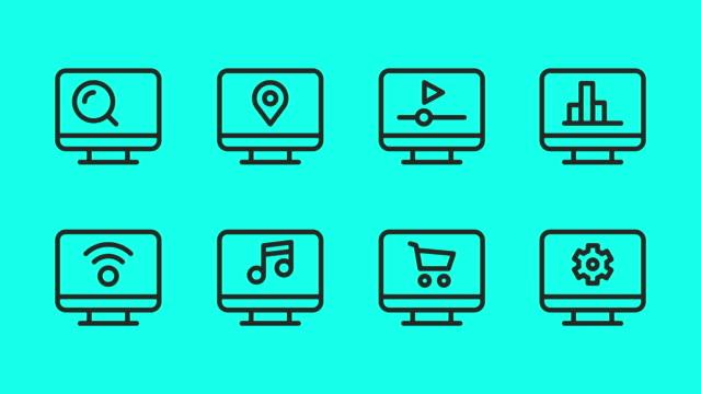 Desktop Line Icons - Vector Animate Desktop Line Icons Vector Animate 4K on Green Screen. multimedia stock videos & royalty-free footage