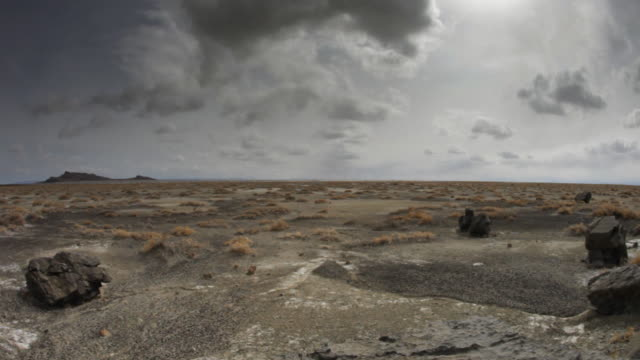 desolate desert salt flat, dolly push in video