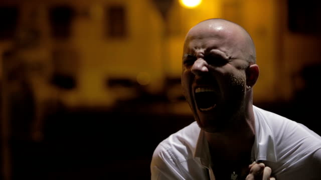desperate man in the night: lost man cries and shouts in the night video