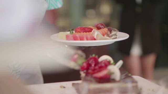 dessert buffet catering buffet food - фуршет стоковые видео и кадры b-roll