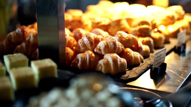dessert buffet with delicious sweet bakery. - фуршет стоковые видео и кадры b-roll