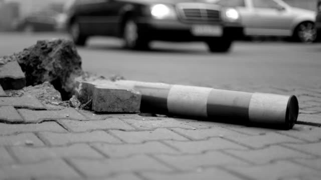 destroy pole on road, black and white - asta oggetto creato dall'uomo video stock e b–roll
