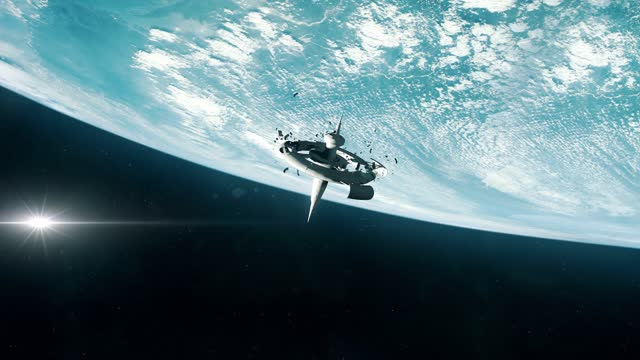 Destroyed Space Station in Earth Orbit video