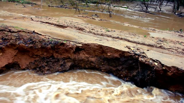 Destruction process. Flooding after rain season, 1080p. video