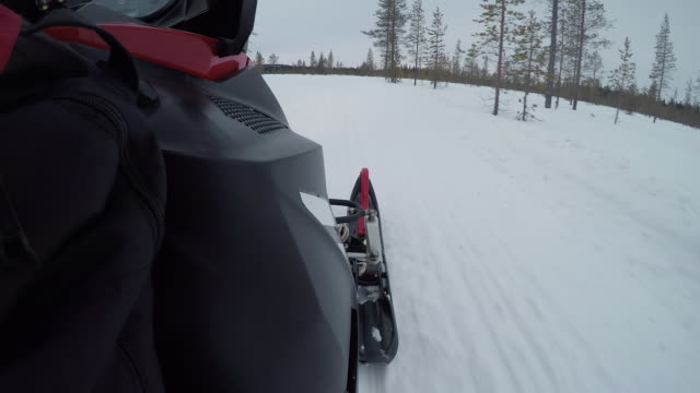CLOSE UP Detail od skis on snowmobile during the ride through Finish backcountry video