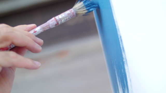 Detail of a hand painting with brush