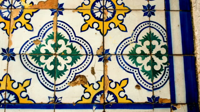 detail of a wall covered with Azulejo, a typical ornament of Portuguese architecture