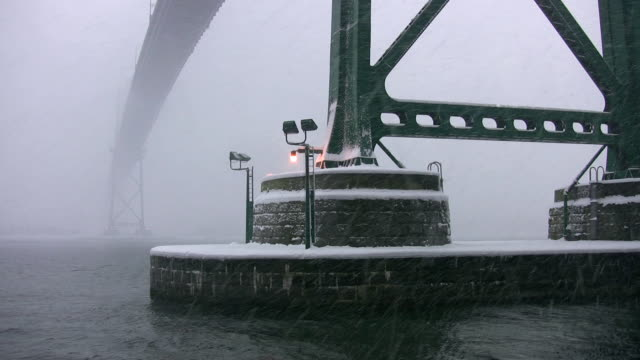 Detail of bridge supports. Snowstorm. video