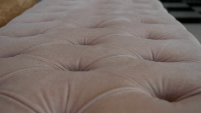 Detail of Classical Style Furniture, Sofa Damask, Dolly Shot, Close-Up of an Authentic House Interiors, Living Room, Sofa, Design, Modern Furniture, Looking Around in a Messy House, Full of Furniture, Part of Series, Extreme Close-Up of Different Details and Patterns fabric swatch stock videos & royalty-free footage