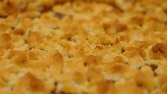 Detail of freshly made hot homemade tart