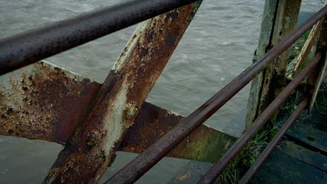 Detail Of Rusty Old Bridge With River Below video