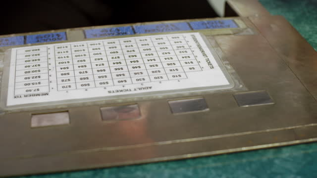 Detail of ticket machine at theater box office video