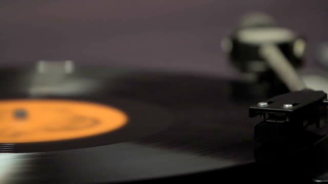 Detail of vintage record player with spinning vinyl video