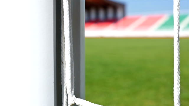 Detail shot of soccer football door net video