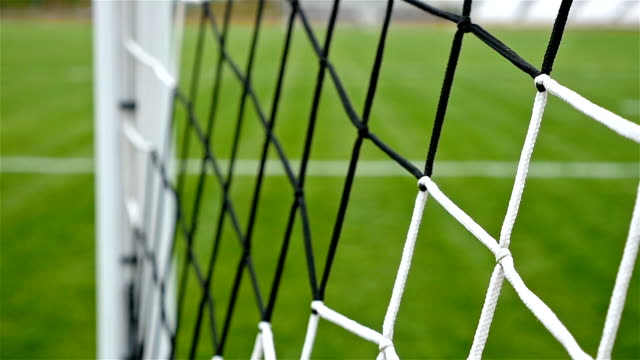 Detail shot of soccer football door net video