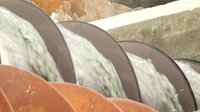 Detail shot of water being processed in hydro screw video
