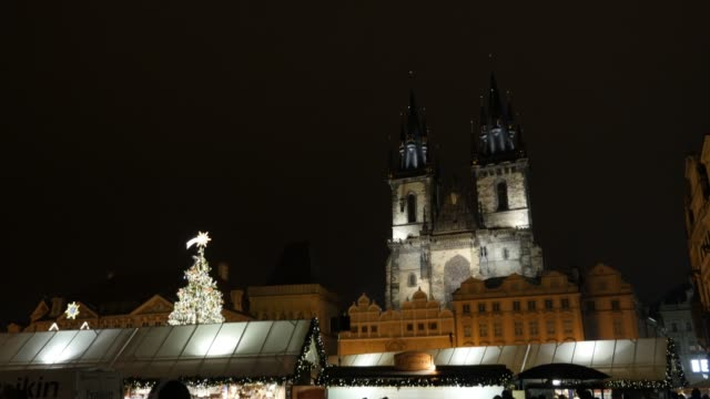 detailed bell towers of our lady cathedral in czech republic - barocco video stock e b–roll