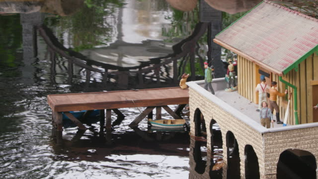 Detailed Model Train Set in Miniature Town with Pier