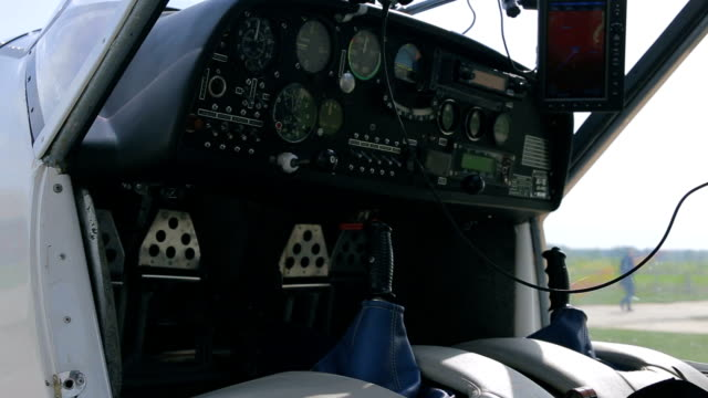 Details of an airplane's panel devices video
