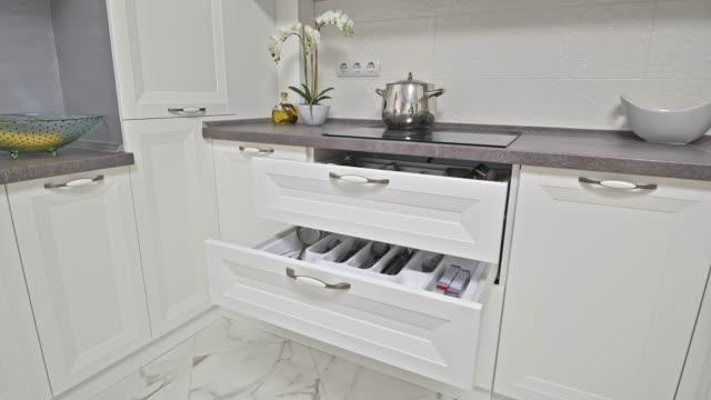 Details of modern white wooden kitchen