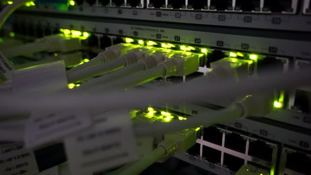 vídeos de stock, filmes e b-roll de detalhes dos cabos utp, piscando luzes led e rj 45 em switches ethernet a trabalhar - fibra óptica