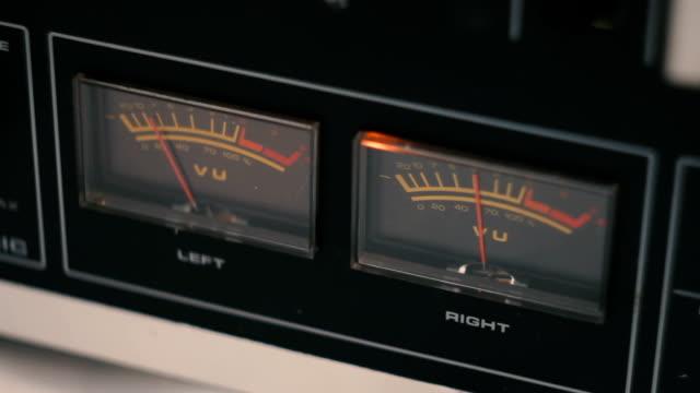 Details of vintage reel to reel tape recorder - player vu meter