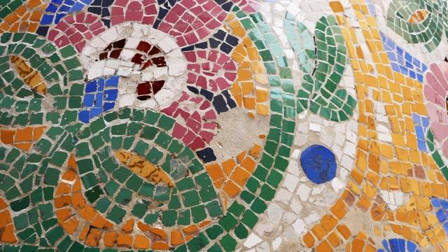 Details with Ceramic tiles of the facade of Palau de la Música Catalana in Barcelona, Spain. 4k Details with Ceramic tiles of the facade of Palau de la Música Catalana in Barcelona, Spain. 4k mosaic stock videos & royalty-free footage