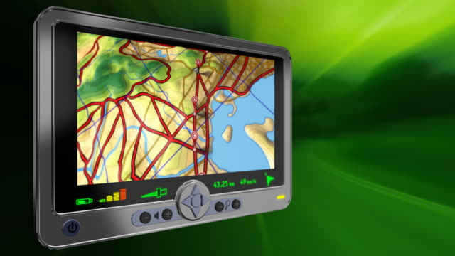 GPS device displaying map fly-over. Loopable. video