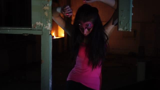 Halloween Makeup Devil Girl.Devil Woman With Horns And Halloween Makeup Stock Video Download