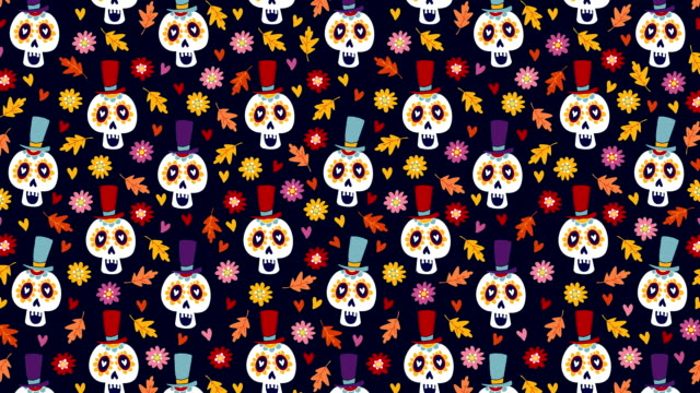 Dia de los Muertos or Halloween seamless animation of hand drawn pattern. Mexican Day of the Dead. Decorative sugar skulls, colorful autumn leaves and mums flowers. Loopable HD footage.