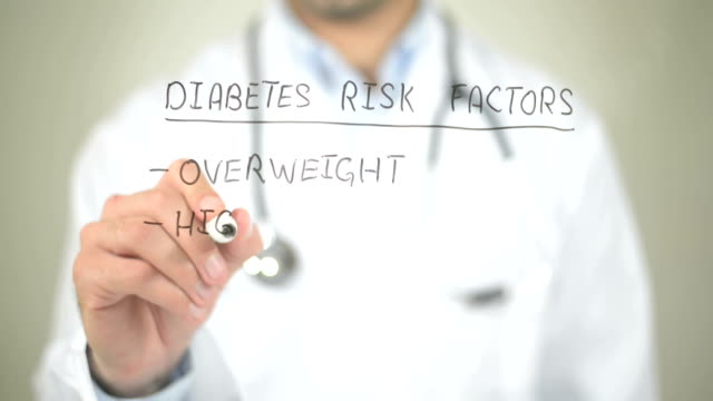 Diabetes Risk Factors, Doctor writing on transparent screen video