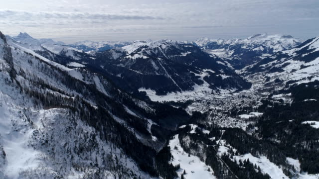 Diablerets view from top glacier level - Aerial 4K