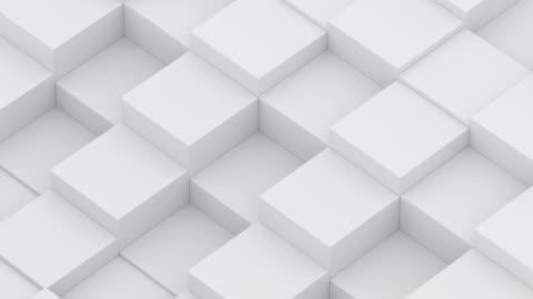 vídeos de stock e filmes b-roll de diagonal cube waves - branco