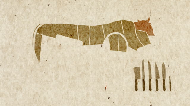 vídeos de stock e filmes b-roll de diagrams of cow body parts anatomy for cuisine purposes - beef angus