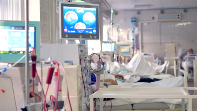 vídeos de stock, filmes e b-roll de uma ala de diálise com máquinas de rim mostrando taxas de ultrafiltração. - rim órgão interno