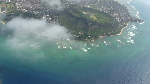 Diamond Head from the airplane - Honolulu video