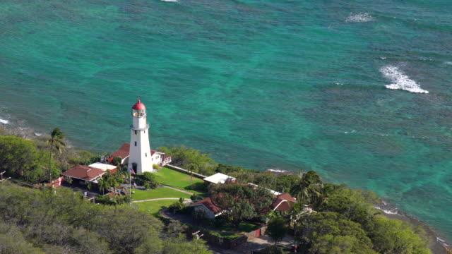 Diamond Head Lighthouse and beautiful seascape / Honolulu, HI, USA