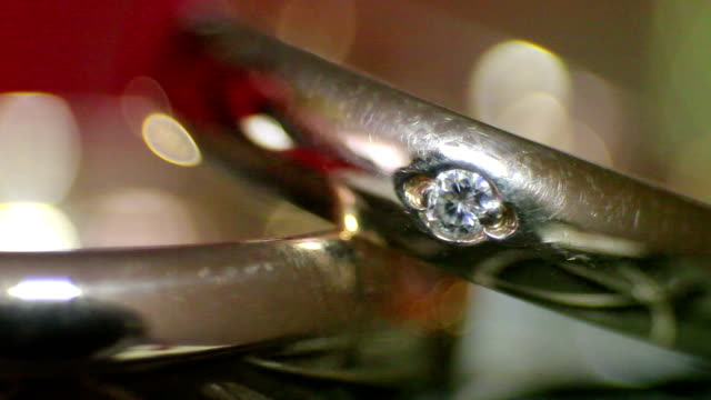 diamond rings in light close-up video