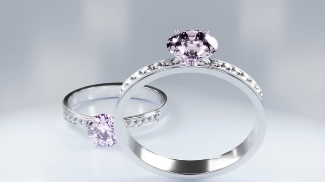 Diamond rings made of platinum gold decorated with many small diamonds