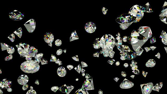Diamonds flying in slow motion, Alpha Channel