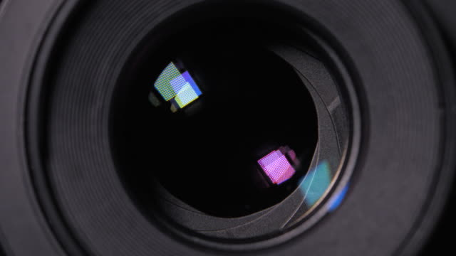 Diaphragm blades of the fixed lens opening and closing aperture f-stop adjustment of a photo camera close-up shot