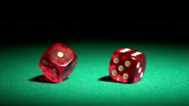 Dice game in slow motion, player winning the super prize.