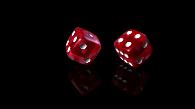 Dice roll red in black background video