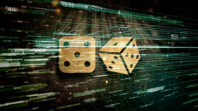 sfondo tecnologico di dadi - gioco d'azzardo video stock e b–roll