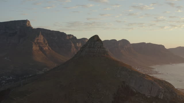 Did someone say hike? 4k drone footage of the city of Cape Town at sunset western cape province stock videos & royalty-free footage