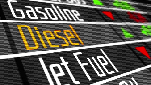 Diesel as commodity on the stock market. Prices for diesel and various commodities on the stock market. 4K UHD video animation loop. price stock videos & royalty-free footage