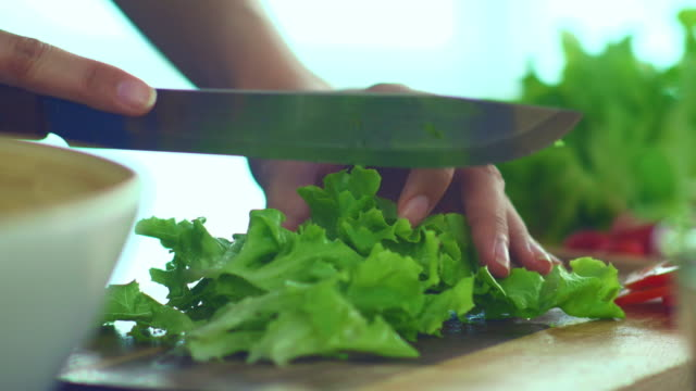 Dietary Fiber : Cutting Lettuce for Salad